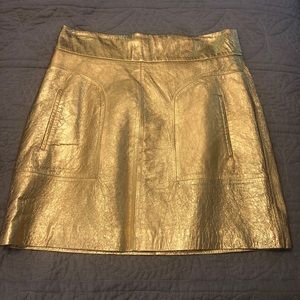 NWOT Zara Gold Mini Skirt Size Medium